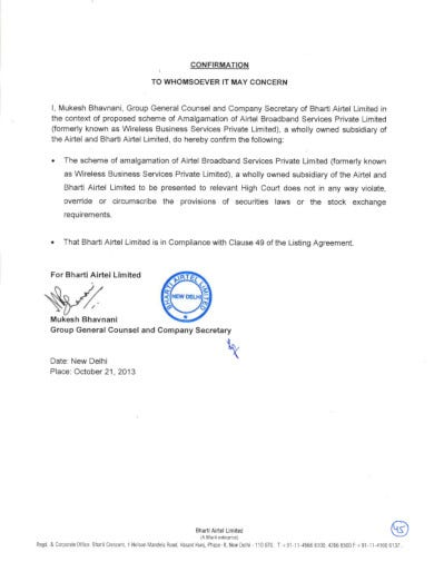 standard company confirmation letter