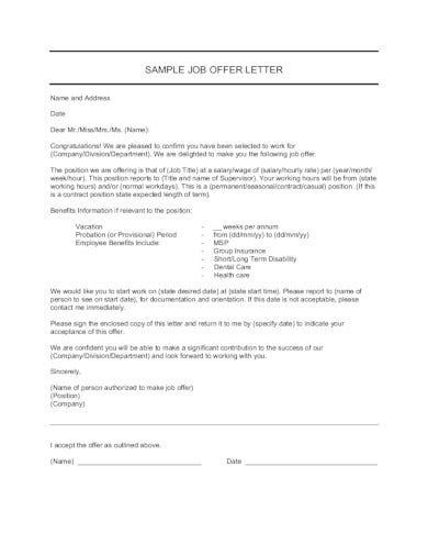standard company job offer letter in pdf