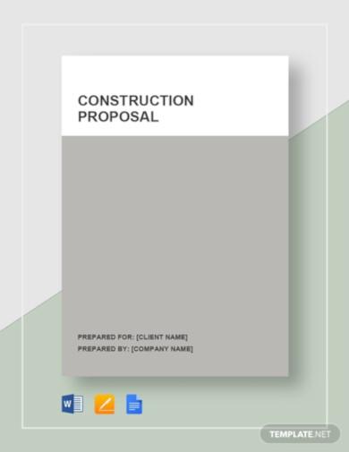 standard construction proposal template
