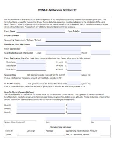 standard event worksheet template