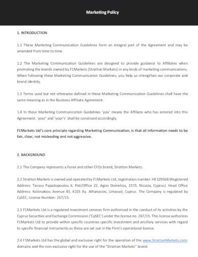 standard marketing policy in pdf
