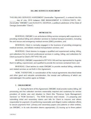 standard medical billing contract template
