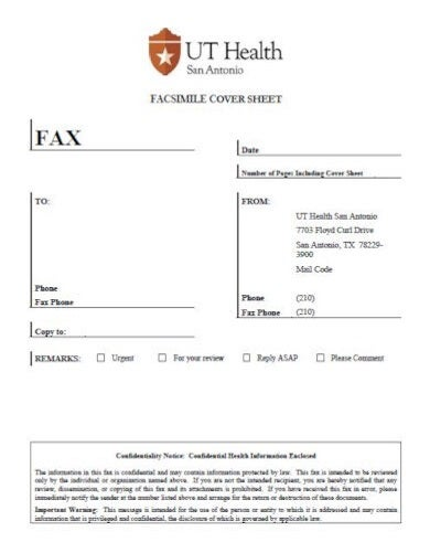 standard medical fax cover sheet