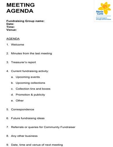 standard meeting agenda for fundraising