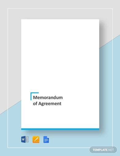 standard memorandum of agreement template