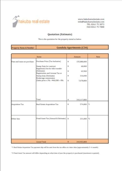 standard real estate quotation estimate