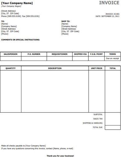 standard sale invoice template