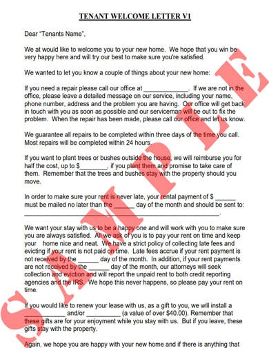 standard tenant welcome letter