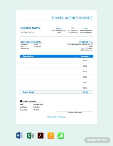 standard travel agency invoice template