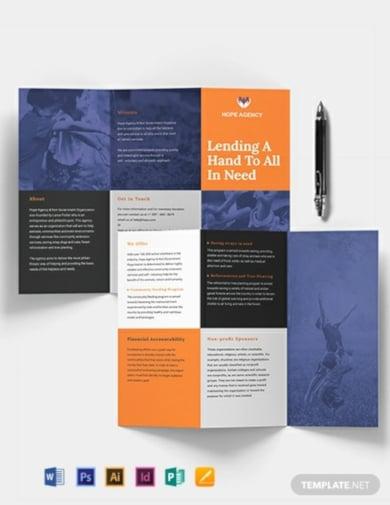 standard tri fold fundraising brochure template