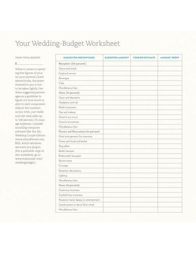 standard wedding budget template