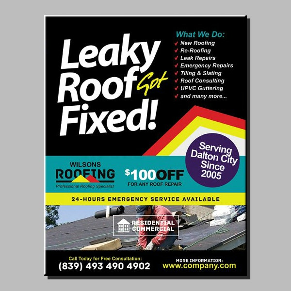 stylish roofing services flyer format