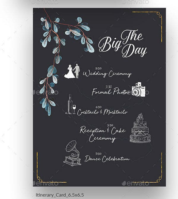 subtle wedding itinerary template