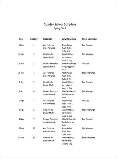 sunday school schedule sample