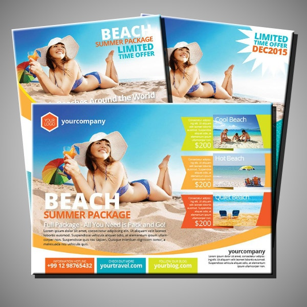 sunny beach travel flyer layout