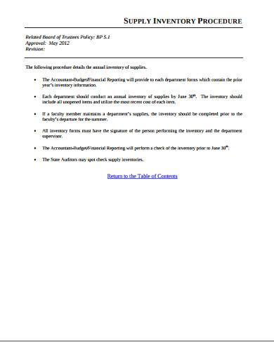 supply inventory procedure