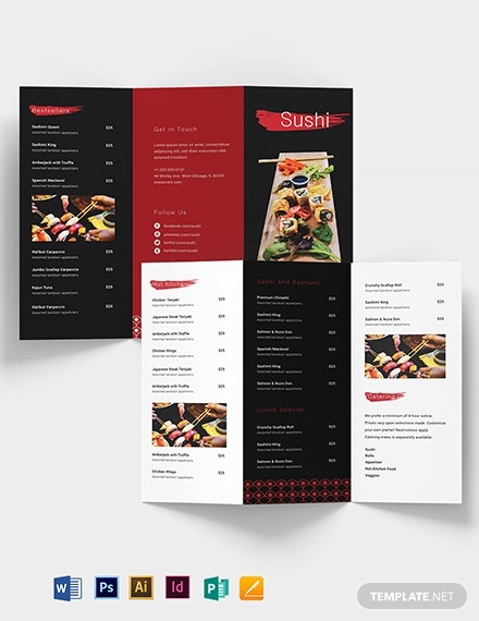 sushi restaurant take out brochure example