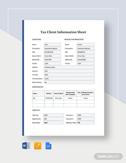 tax client information sheet template