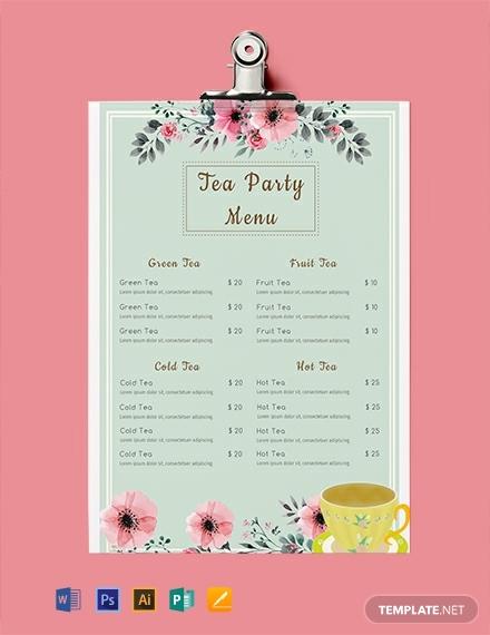 tea party event menu template