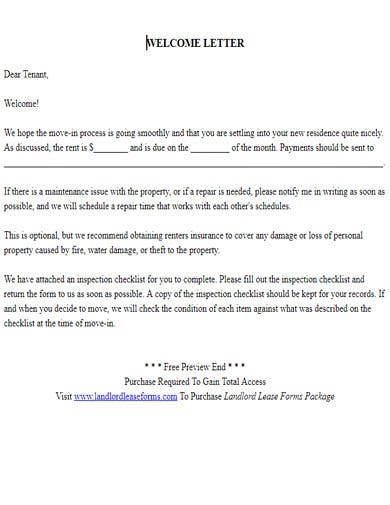 tenant welcome letter example