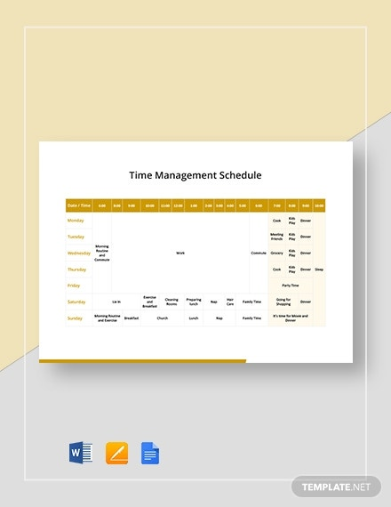 time management schedule