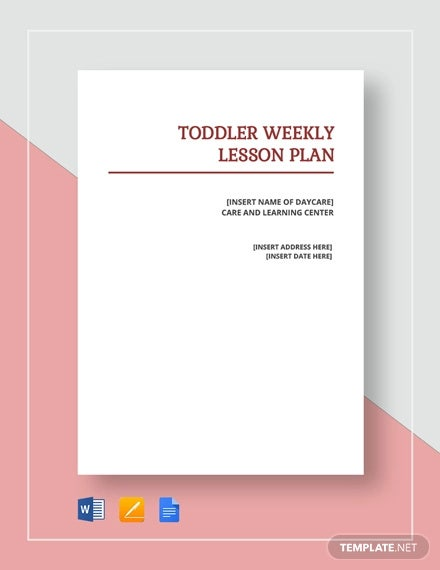 toddler weekly lesson plan template