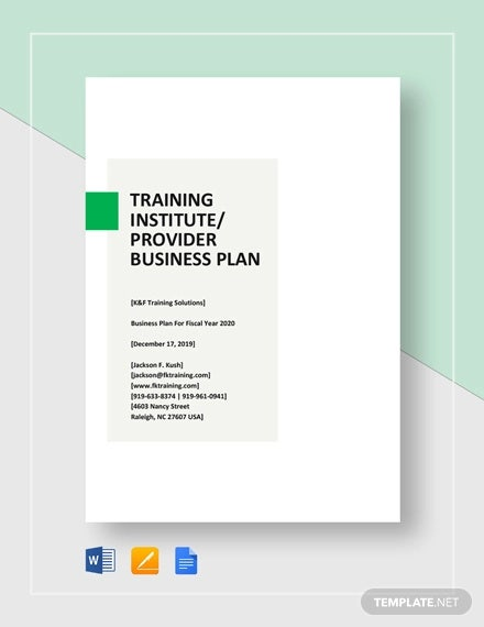 training institute or provider business plan template