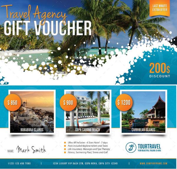 travel agency gift voucher template