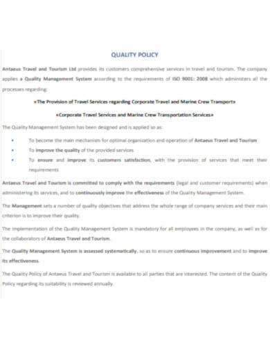 travel company quality policy templates