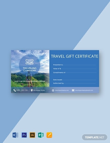 travel gift certificate and voucher template