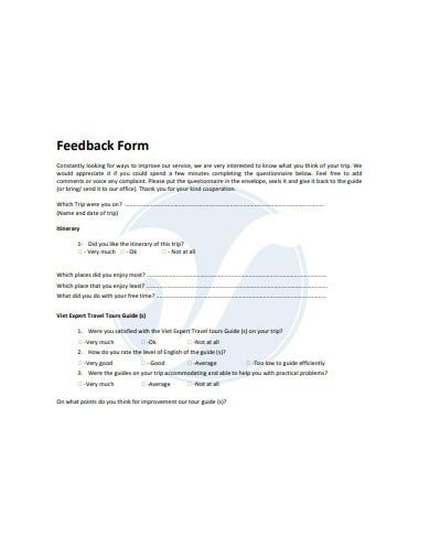 travel limited company feedback form