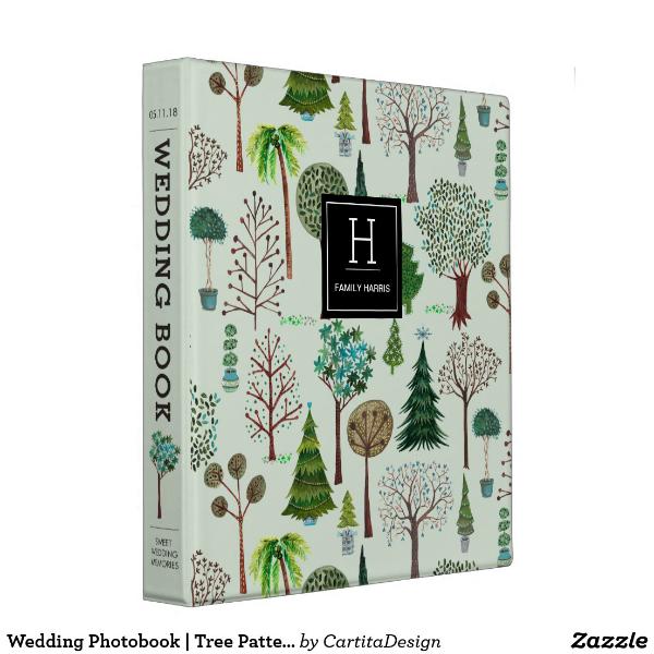tree pattern wedding photobook layout