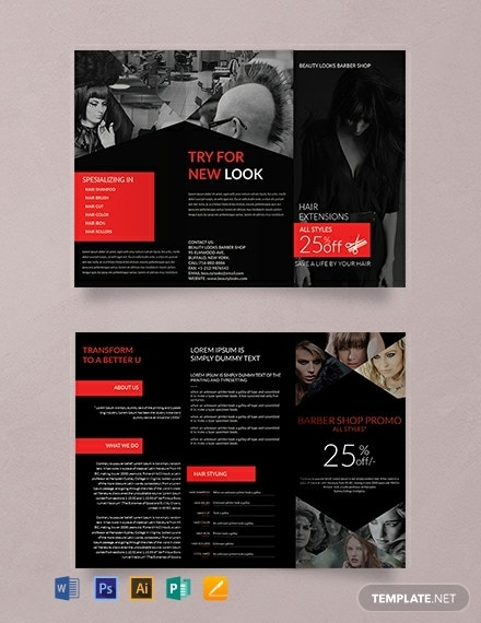tri fold barbershop business brochure format