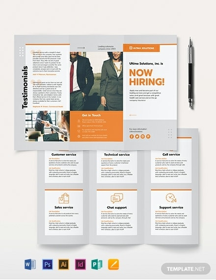 tri fold employee recruitment brochure layout