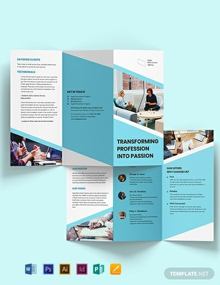 tri fold recruitment agency brochure sample