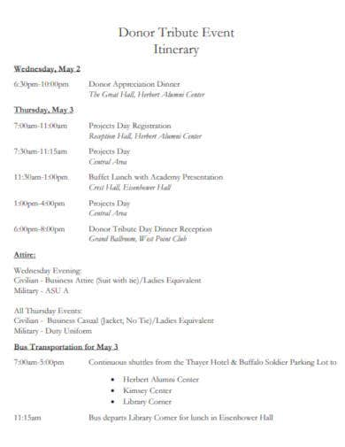 tribute event itinerary template