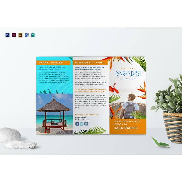 tropical travel ad brochure template