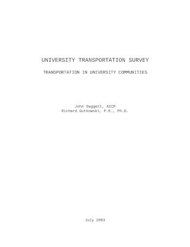 university transportation survey template