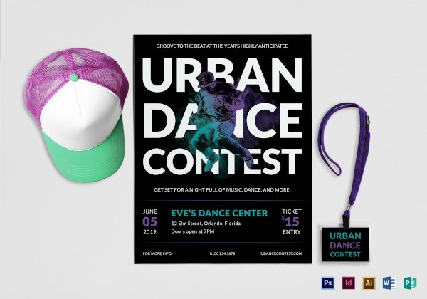 urban dance contest flyer template