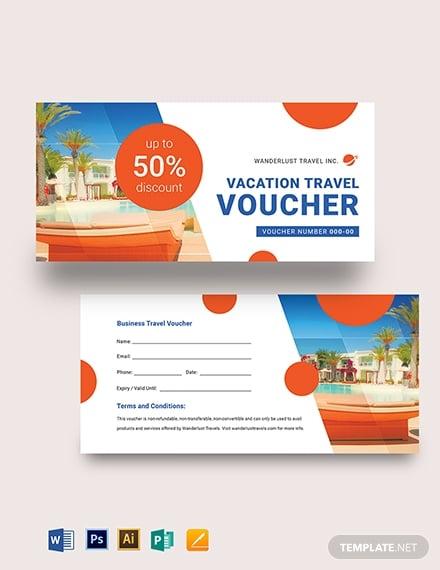 vacation travel voucher template