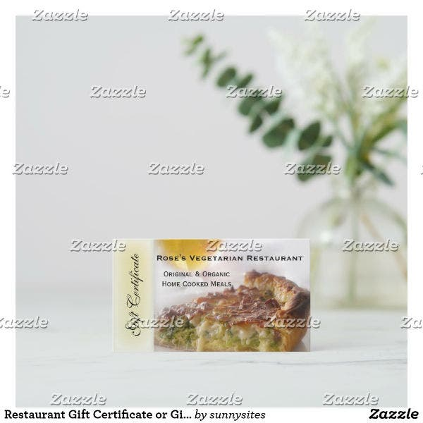 vegetarian restaurant gift coupon card template
