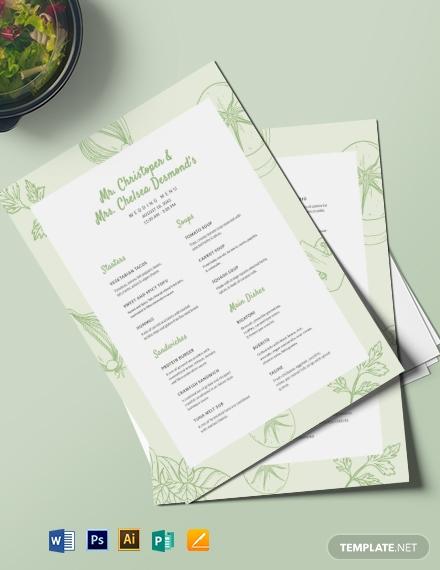 vegetarian wedding event menu template
