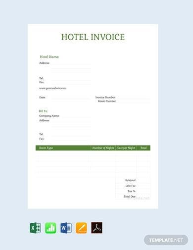 vertical hotel invoice template