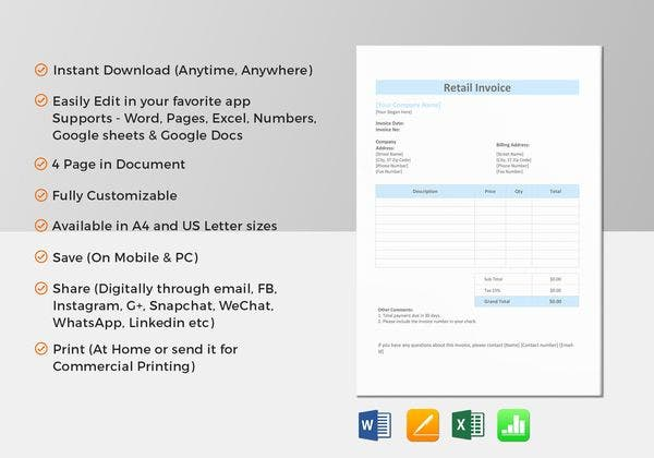 vertical sales invoice template