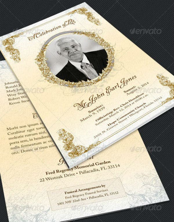 victorian funeral program template preview