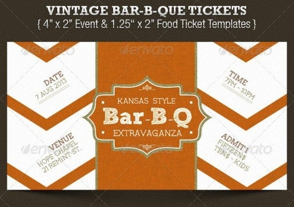 vintage bar b que ticket templates preview