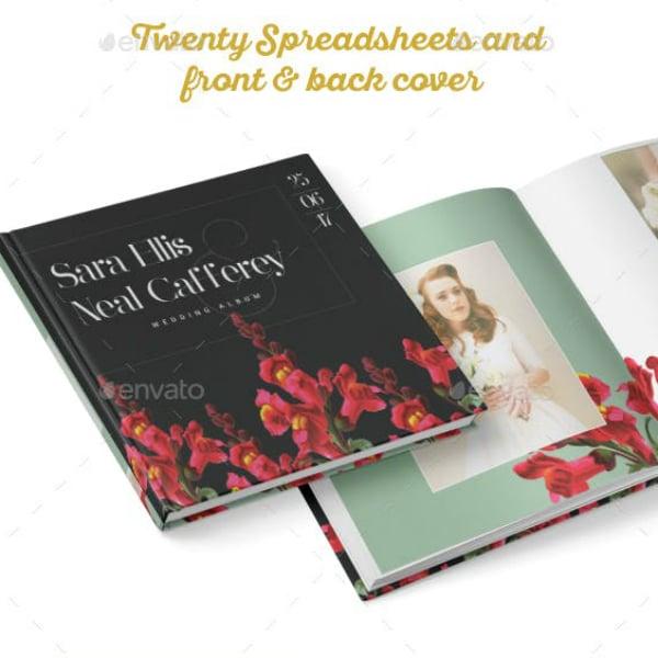 vintage floral wedding photobook sample
