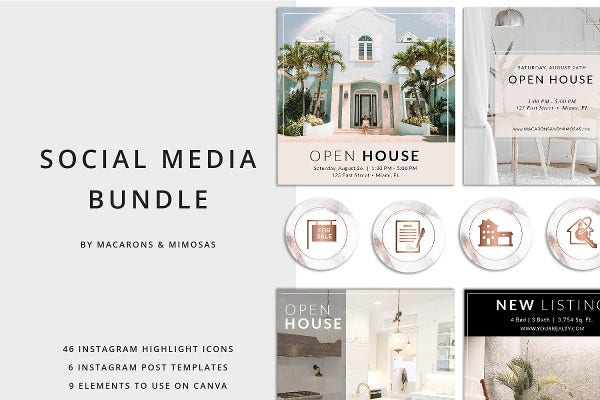 vintage real estate instagram template