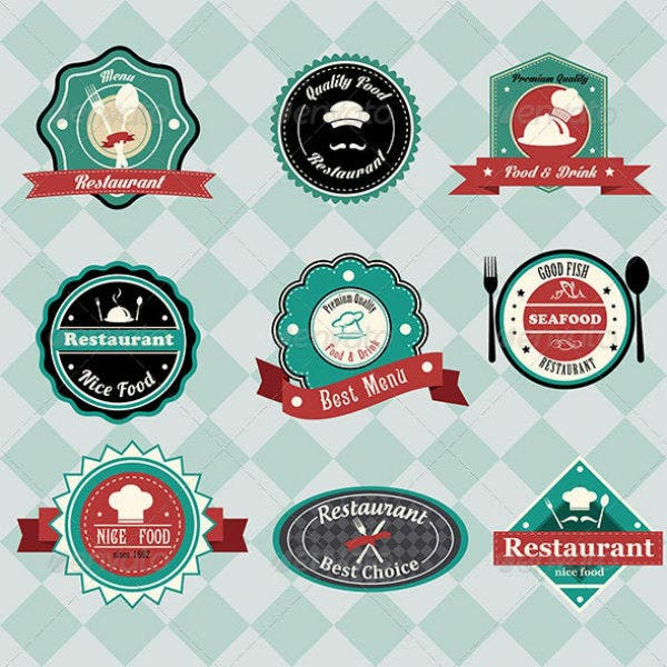 vintage restaurant label tag template set