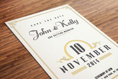 vintage wedding invitation postcard template